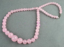 women good Fast SHIPPING2014 Spring JADE BeaDS Tower bead NECKLACE pink (A0430)