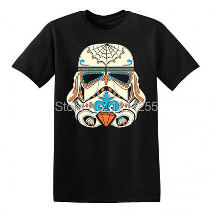 Menu0027s Star Wars Sugar Skull Storm Trooper T Shirt Men Fashion Design 100%  Cotton Print