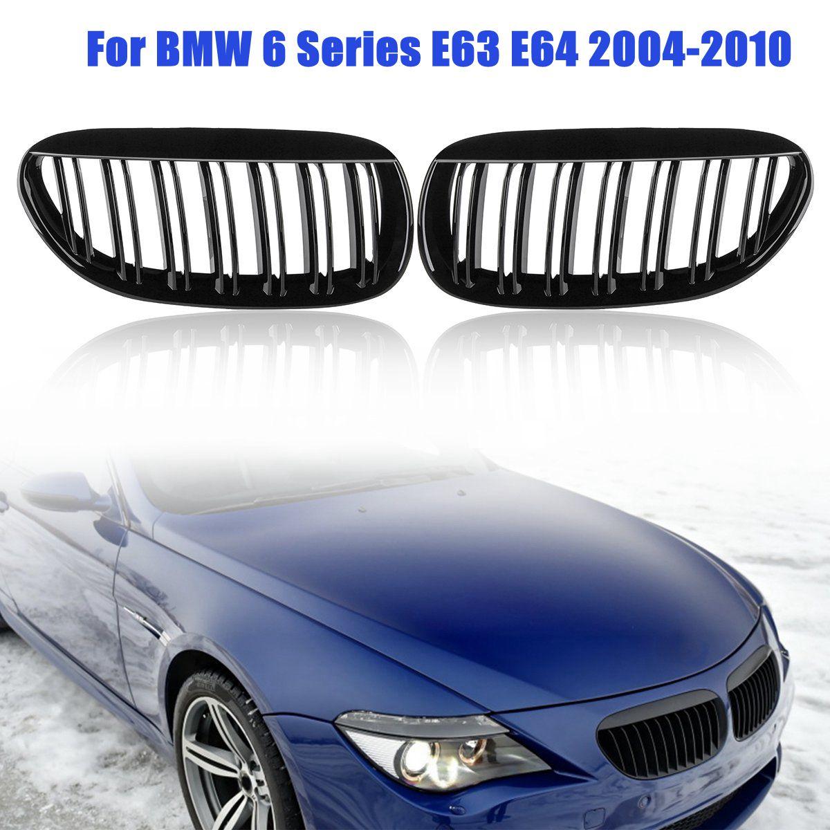 1 paire Brillant Noir Voiture Style Avant Rein Double Lame Avant Grill Grilles de Course pour BMW 6 Série E63 E64 2004-2010