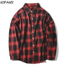 ICPANS Plaid Shirt Male 2019 Autumn Winter New Long Sleeve loose Hip Hop Casual Japanese Mens wild shirt