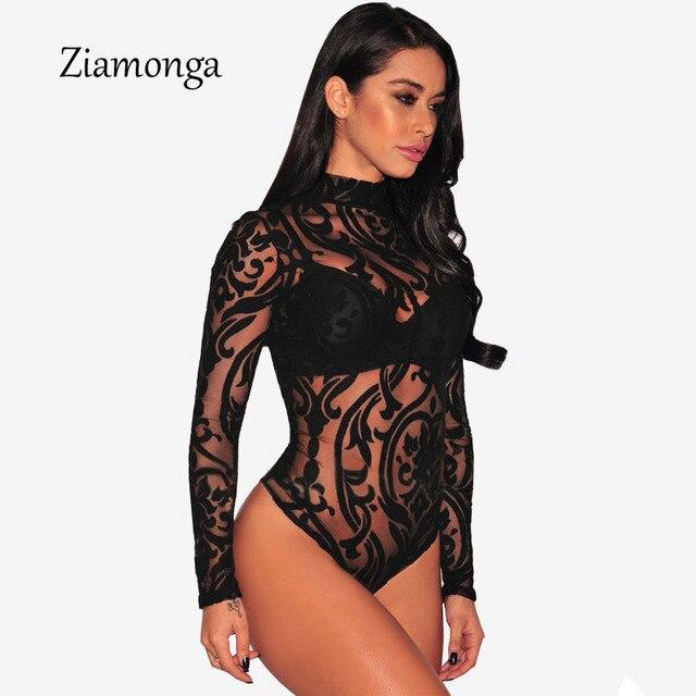 Ziamonga Black Red Blue Sexy Turtleneck Mesh Bodysuit 2017 Transparent Mesh  Print Long Sleeve Sexy Bodysuit Women Jumpsuit C2915 afa7f852b