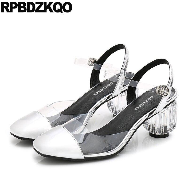 a35d59901dc Pumps Slingback Sandals Metallic Transparent Square Toe Perspex High Heels  Pvc Clear Wedding Shoes Block 2018 Ankle Strap Women
