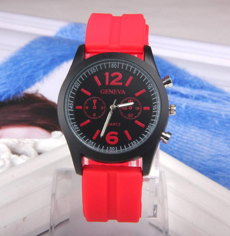 100pcs/lot DHL Free Shipping Sports Watch Geneva Silicone Watch Men Women Watches Hot Sell Favourite Watches Many Colours
