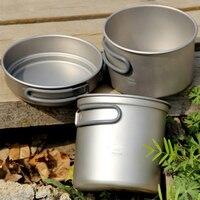 Keith Titanium Kitchen Pots Set Outdoor Camping Hiking Titanium Cookware Set Cauldron & Medium Pot & Frying Pan 228g KP6014