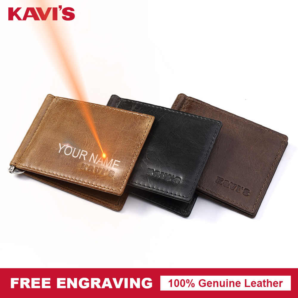 KAVIS Free Engraving Men Small Genuine Leather Male Thin Purse Wallet Money Clip Female Clamp for Money Card Gift For