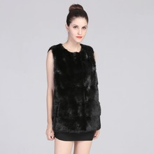 AAA Real Mink Fur Vest  Black Full Pelt fur Coat Black Jacket fur vest