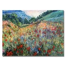 Пейзаж современного искусства картины маслом поле диких цветов ручная роспись на холсте Высокое качество декор стен