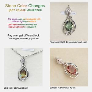 Image 2 - Bolai Color Changing Nano Diaspore Leaf Pendant Necklace Genuine 925 Sterling Silver Stone Fine Jewelry For Women Girls Gift