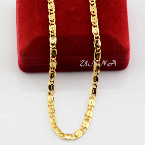 Unisex Mens Womens 4mm Solid Yellow Gold Color Filled Chain Link Snail Necklace 50CM (NO RED BOX)