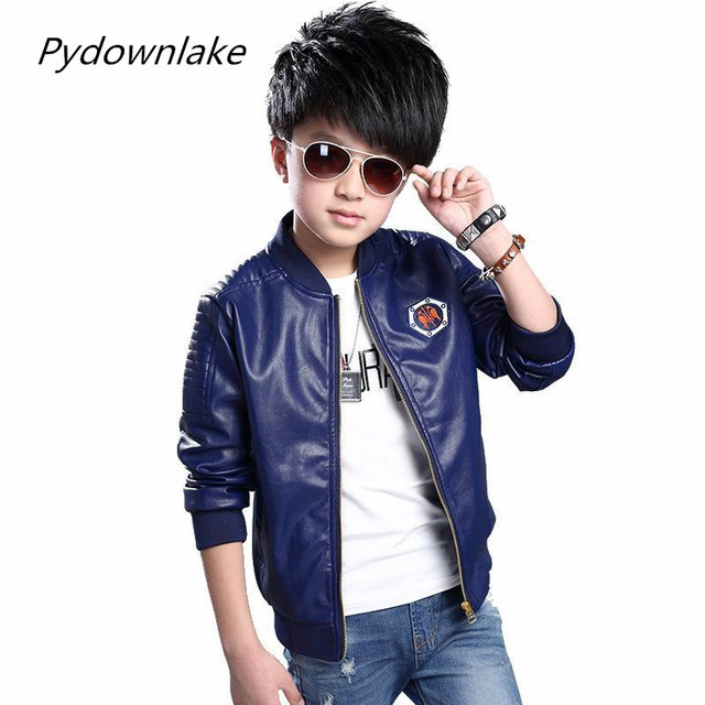 06990cb8989 US $18.02  2017 New Fashion Spring Children Jacket PU leather Zipper  Embroidery Boys Trendy Coat For 3 12 year Casual Trench Clothing-in Jackets  & ...