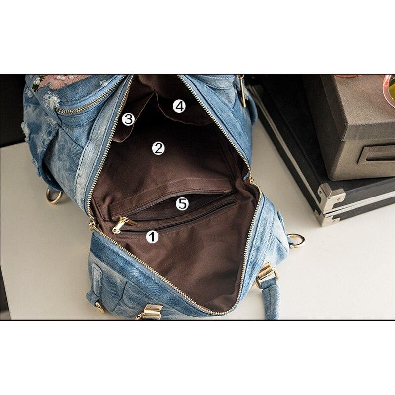 Image 5 - Рюкзак iPinee Женский, из джинсовой ткани высокого качества, для девочек подростков, 2019Рюкзаки