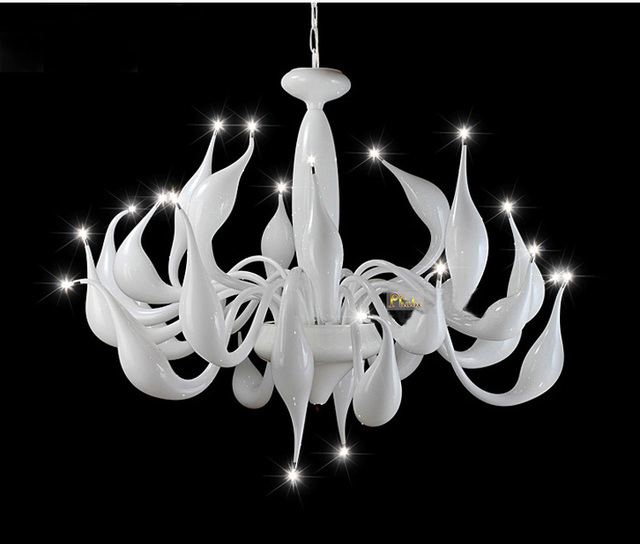Italy Swan Chandelier Modern Murano Chandeliers Creative Art Glass Light 24 Head White Color