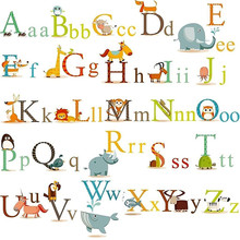 2017 New 26 letters A-Z Alphabet&Animals home decor English Vinyl Mural Wall Stickers Decals Kids Room Decor 60cm x 90cm(China)