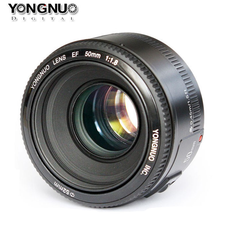 YONGNUO Lens YN50mm f1.8 YN EF 50mm f/1.8 AF Lens YN50 Aperture Auto Focus for Canon EOS 60D 70D 5D2 5D3 600d Canon DSLR Cameras yongnuo yn 50mm lens fixed focus lens ef 50mm f 1 8 af mf lense large aperture auto focus lens for canon dslr camera pouch bag