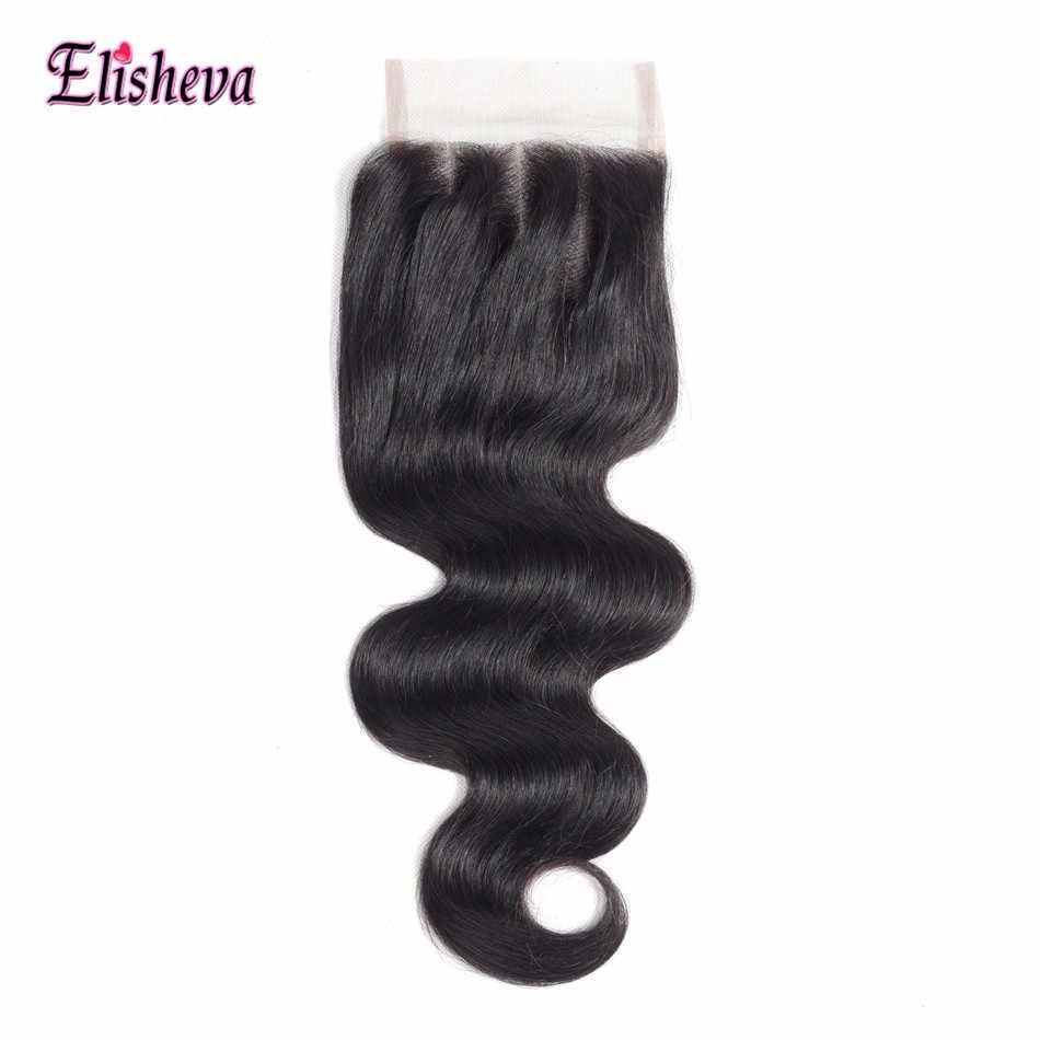 Elisheva paquetes de cabello malayo con cierre ofertas extensiones de cabello no Remy cabello humano tejido Bodywave 4 paquetes con cierre