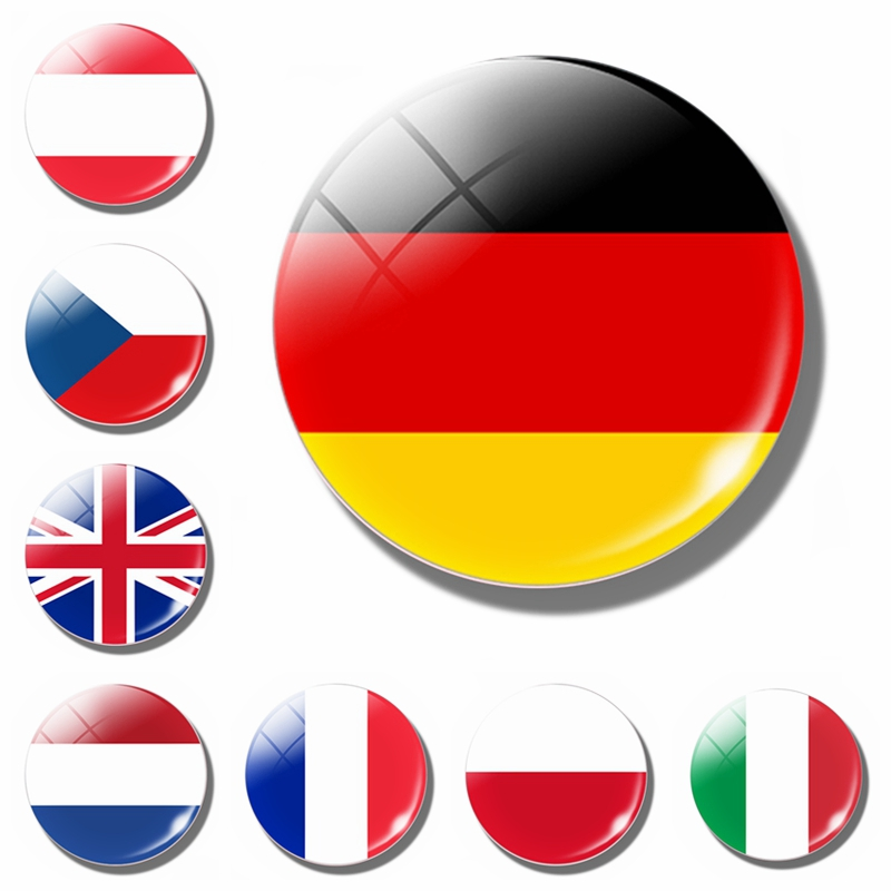 Europe Flag Fridge Magnet Germany French Ireland Netherland Belgium Spain Britain Glass Magnetic Refrigerator Stickers Decor(China)