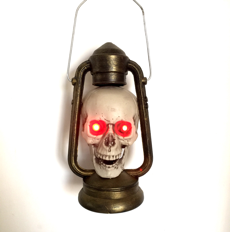 Real life escape room game Halloween decorations Skulls and skull handheld lanterns in haunted house Scary toys for children