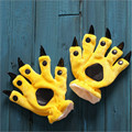 Фланель Мультфильм перчатки варежки животных paw динозавров Стежка панда Молочная корова Медведь теплые Пальцы перчатки