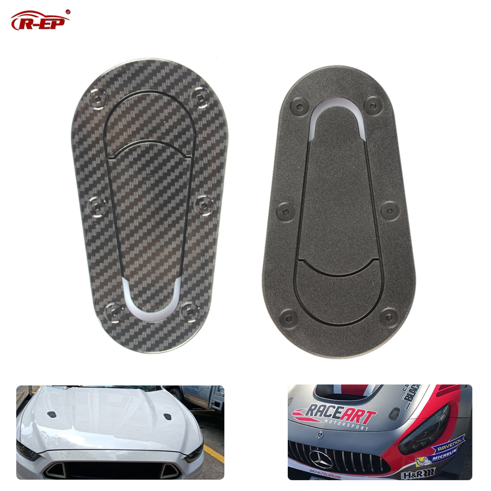 R-EP Universal Car Carbon Fiber Sticker for Hood Lock Racing Bonnet Decorative Hood Scoop Stickers for BMW Nissan AMG Mustang