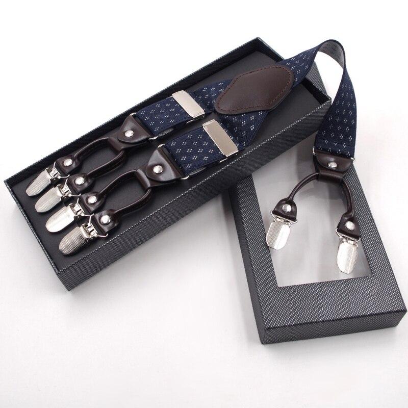 Men's Suspenders Men Y-shape Solid Or Dot Suspender Non-slip 6 Clips Elastic Adjustable Braces