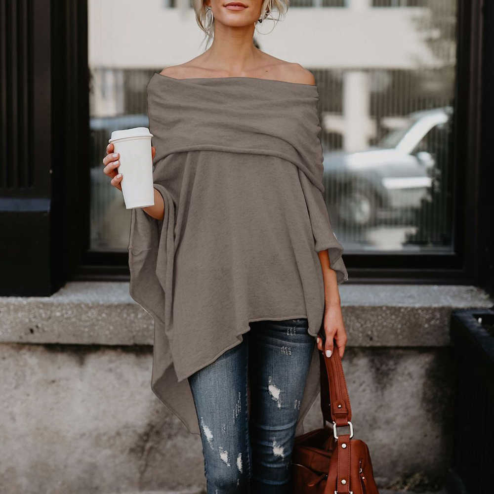 Vrouwen Off Shoulder Top Asymmetrische Overlap Effen Poncho Trui Mode Kleding Dames Casual Fall T-shirt Tops