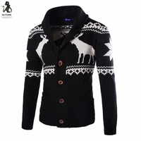 Feitong Christmas Sweater Men Deer Print Knitted Cardigan Single Breasted Kerst Trui High Quality Pullover Pull