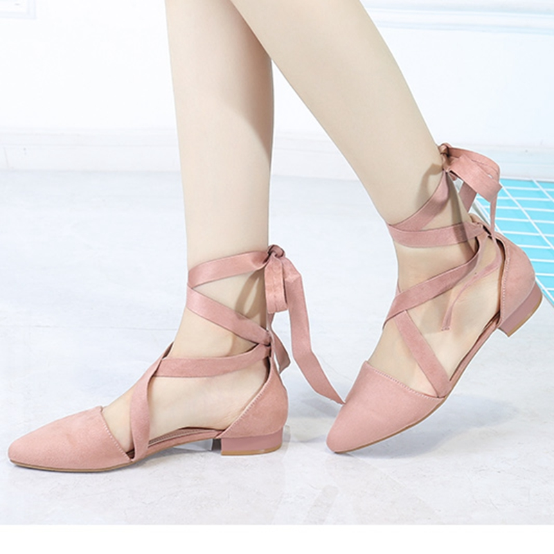 Women gladiator Sandals Lace-up Ballet Ladies Shoes Flats Pointed Toe chaussures femme ete 2017 Casual  Ankle Strap Sandalias new fashion woman flats spring summer women shoes top quality strappy women sandals suede pointed toe gladiator ballet pumps