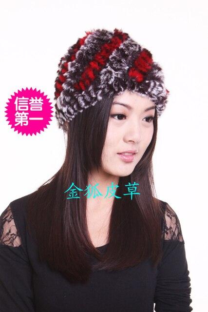 Season autumn and winter rex rabbit hair fur hat stripe toe cap covering cap winter thermal quinquagenarian female hat