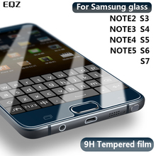 цена на EQZ 9H  2.5D Tempered Glass Note 2 3 4 5 Film Explosion Proof Screen Protector For Samsung Galaxy S2 S3 S4 S5 S6 S7 Film