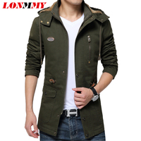 LONMMY Windbreaker Cotton Thick Velvet Hooded Brand clothing Military men jacket coat Hoodies Army mens jackets and coats 2018