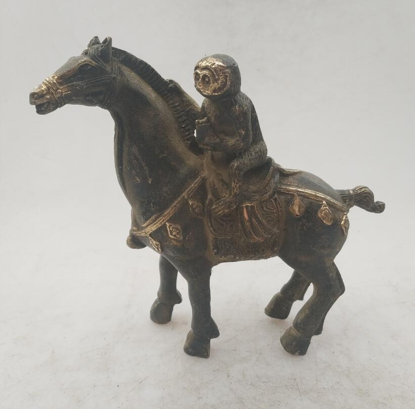 Collection chinese Handmade old bronze Gilt Monkey riding horse statue, Home Decoration antique sculpture
