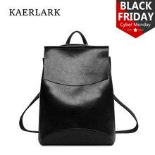 KAERLARK Fashion Women Backpack PU Leather Bagpack High Quality School Girls Female Shoulder Bag Feminina Mochila Oil Wax WS0179