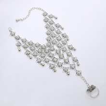 New Fashion Charming Vintage Antique Silver Plated Carving Bell Pendnats Mesh Anklets Foot Chain Barefoot Jewelry for Women Girl