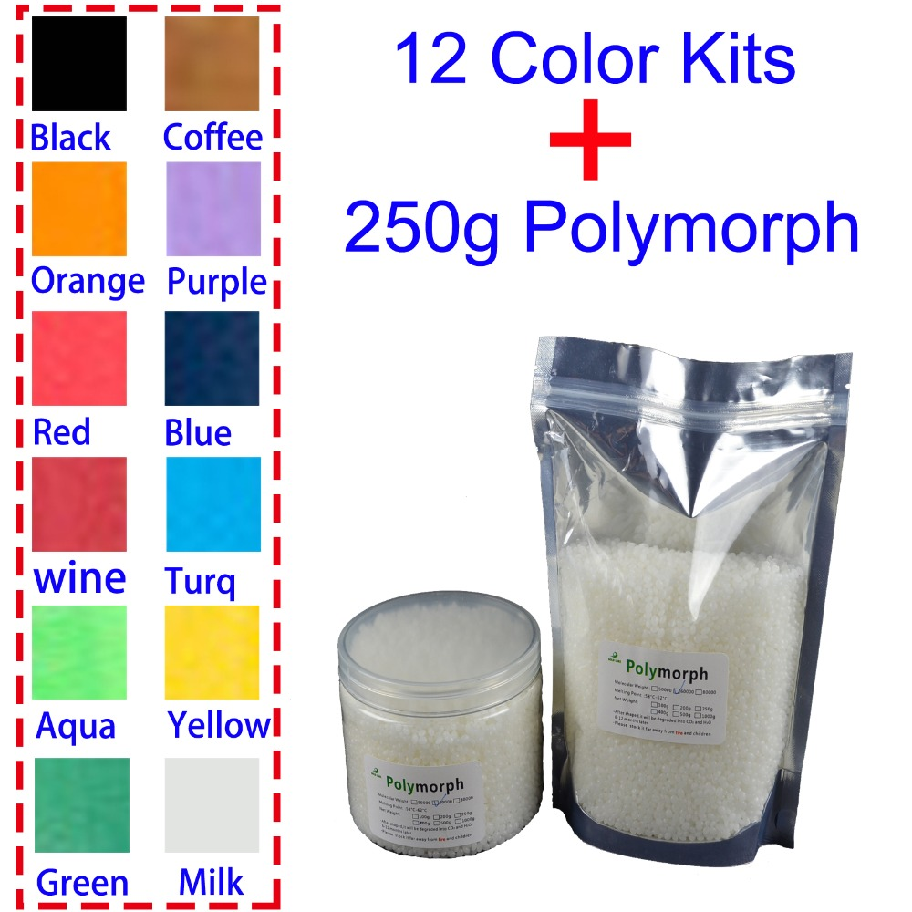 250g PCL and 12 Color Pigment Plastimake Instamorph Shape Shifter Thing Prototype material polymorph plastic for hobbyist Usage