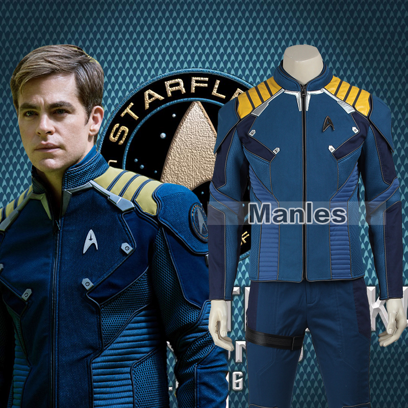 Star Trek Beyond Captain Kirk Costume Cosplay Adult Men Commander Kirk Battle Twill Suit Superhero Halloween Christmas Male