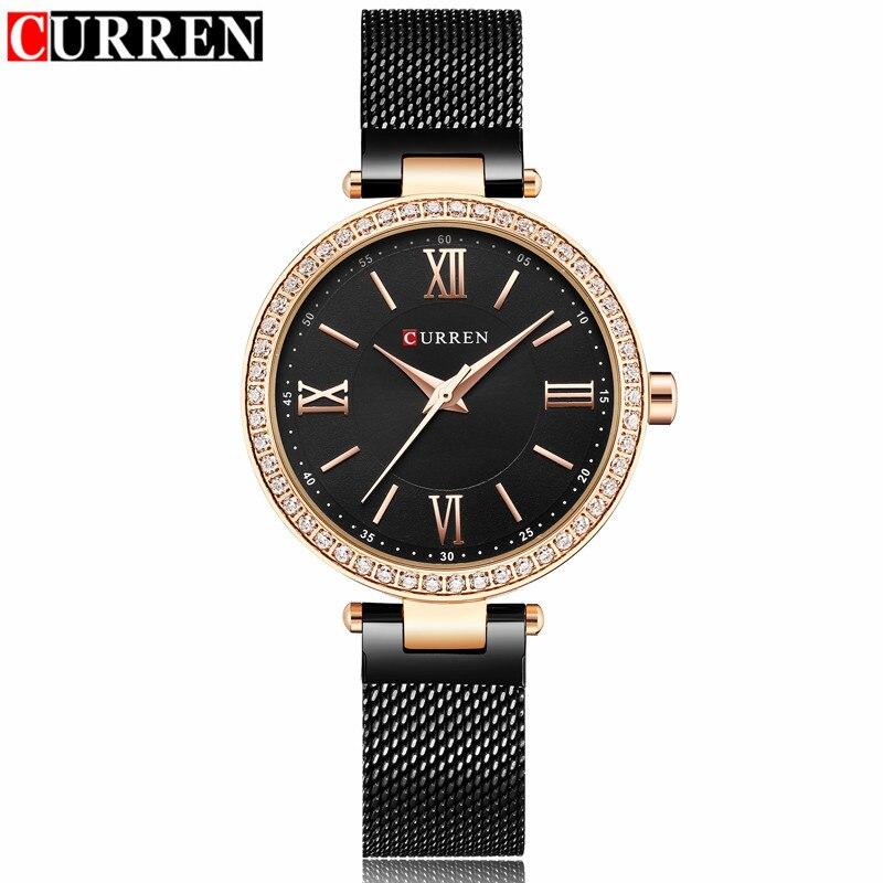 Curren Women Watches Brand Luxury Gold Black Bracelet Quartz Watch