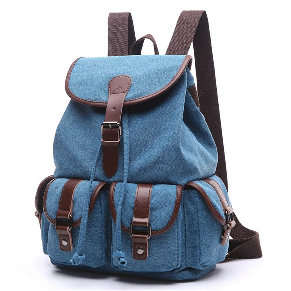 Womens Multi Functional Canvas Backpack Rugged Vintage Rucksack Equipment  Bag Double Shoulder Bag