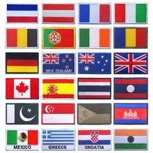 Национальный флаг значок одежда рюкзак перчатки с узором из флага Швейные Россия Испания Франция Великобритания Личность дизайнер крючок для вышивания кольцо патч