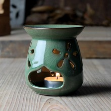 Quemador de incienso Longquan Celadon, estufa aromática de SPA, candelabro de incensario Vintage, calentador de aceite esencial para velas, manualidades decorativas de Boutique