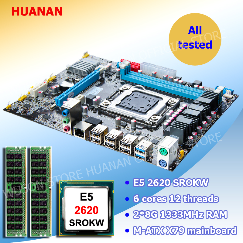 Computer DIY HUANAN ZHI X79 LGA2011 Micro-ATX motherboard CPU memory combos Intel Xeon E5 2620 SROKW RAM 16G(2*8G) DDR3 REG ECC crested stainless steel strap for apple watch band 42mm 38mm iwatch series 3 2 1 link bracelet wrist bands watch straps belt
