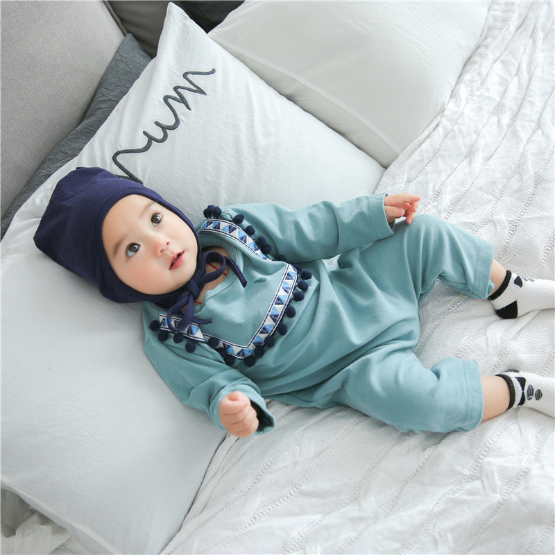 Kids Baby Clothes Cotton Jumpsuit Romper Dress Up Korean Newborn boy and girl rompers  O-neck cloth baby rompers o neck 100