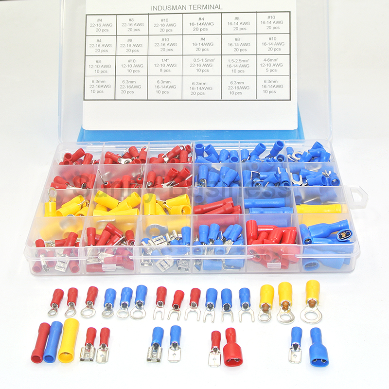 373Pcs  24value  Assorted Insulated Electrical Wire Terminals Crimp Connector Spade Butt Ring Fork Set #4 To 1/4