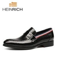 Генрих 2018 Новая мода итальянский дизайнер Формальные Мужские туфли из натуральной кожи черные классические роскошные свадебные туфли Для