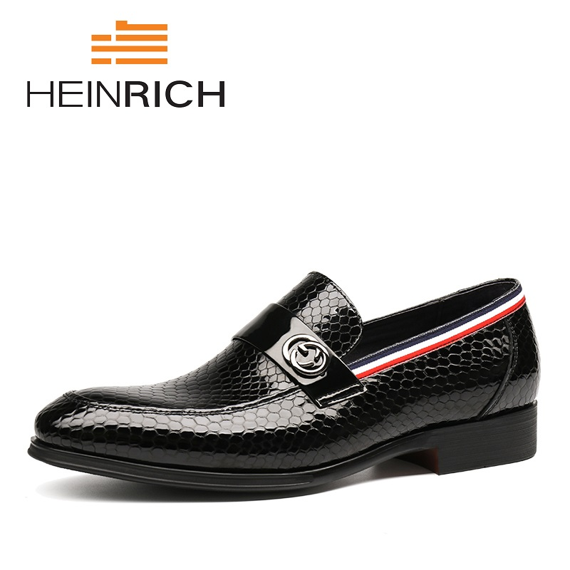 HEINRICH 2018 New Fashion Italian Designer Formal Mens Dress Shoes Genuine Black Classic Luxury Wedding Shoes Men MocasinesHEINRICH 2018 New Fashion Italian Designer Formal Mens Dress Shoes Genuine Black Classic Luxury Wedding Shoes Men Mocasines