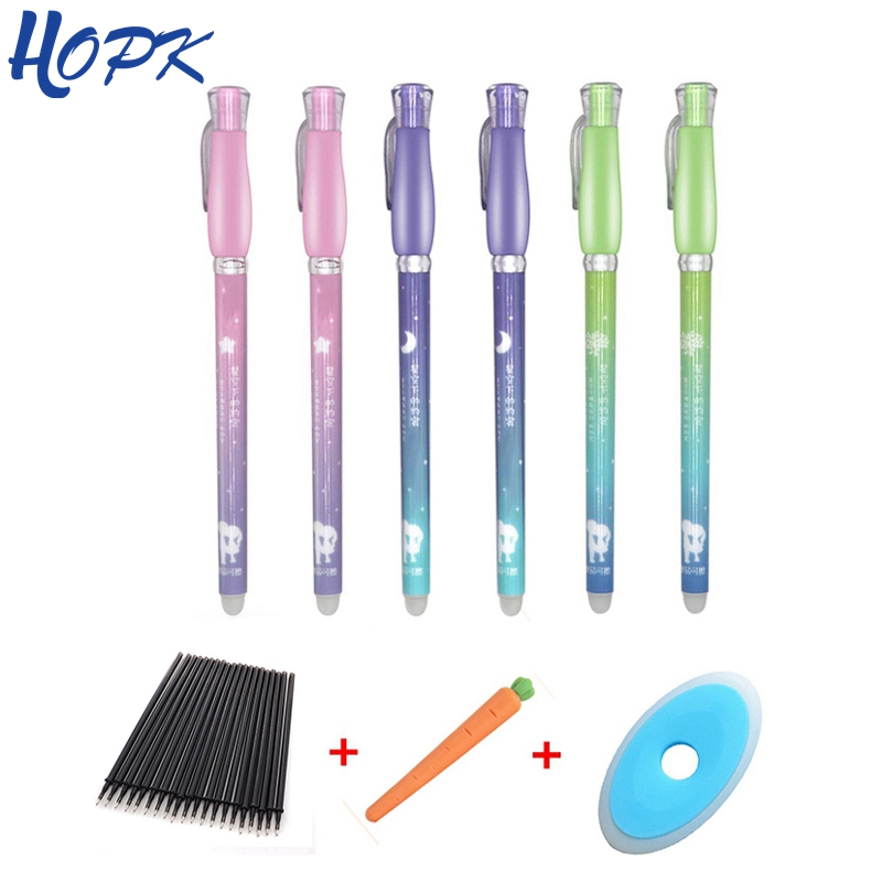 28Pcs/lot Kawaii Erasable Pen Refill Set Rods 0.38mm  Erasable Pen Blue Black Ink Refill Office School Supplies