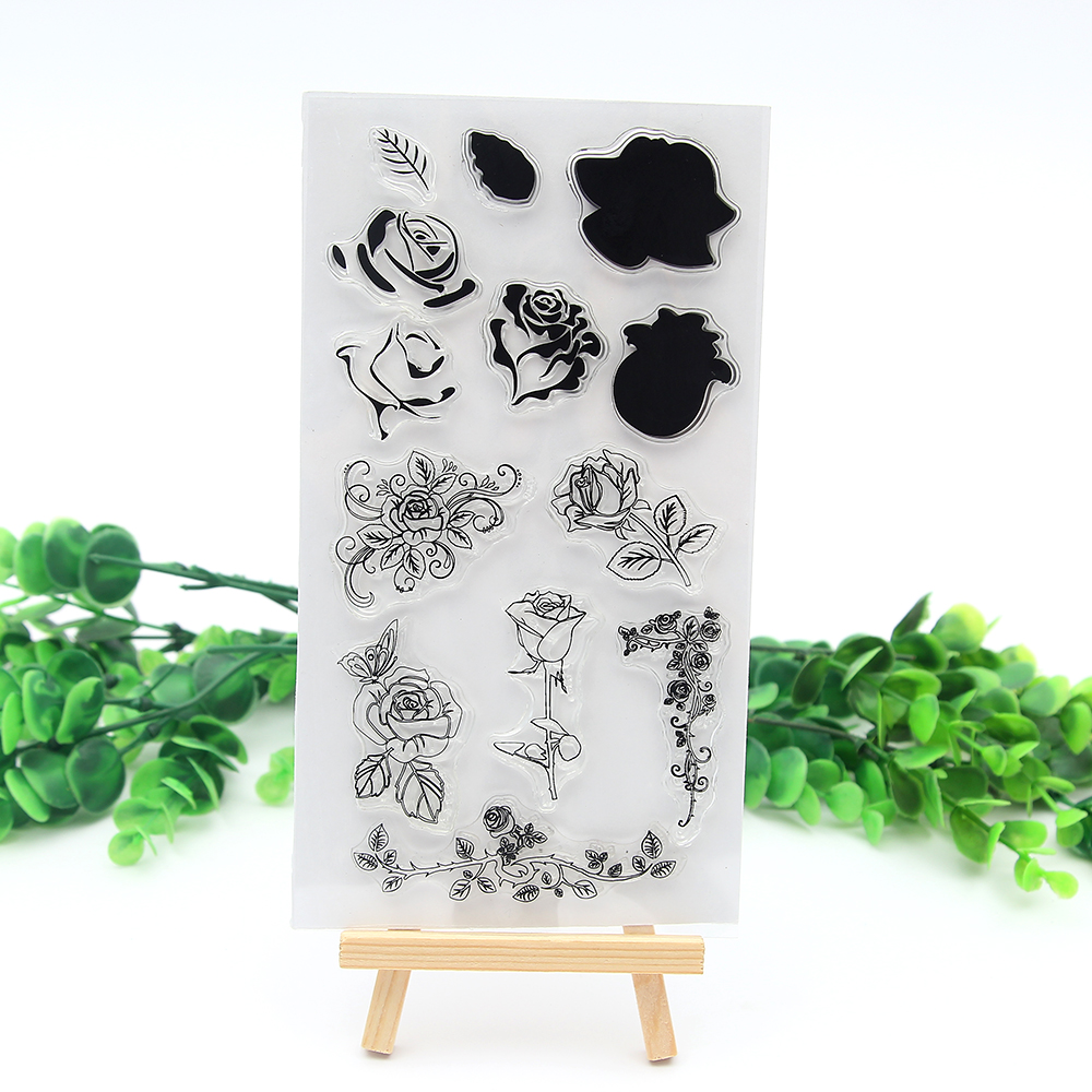 Large flowers Rose flower shape Transparent Clear Stamp Templates ...
