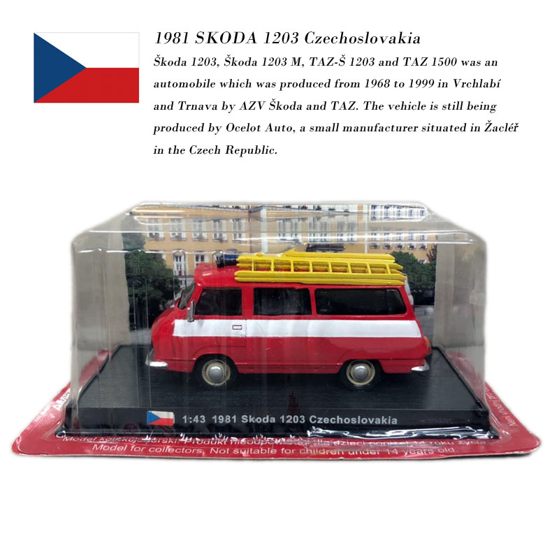 AMER 1/43 Scale Car Model Toys Czech 1981 SKODA 1203 Czechoslovakia Fire Engine Diecast Metal Car Toy For Gift/Collection