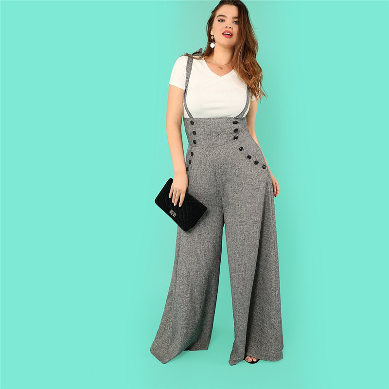 Grey High Waist Wide Leg Straps Plus Size Office Lady Long Jumpsuits