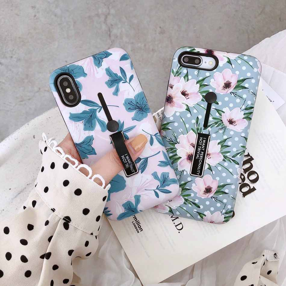 Axbety untuk iPhone 7 7 Plus/8 Plus X/X Max/XR Fashion INS Bunga Jari Loop Ring Stand ponsel Case untuk iPhone 7 Case 6 6 S