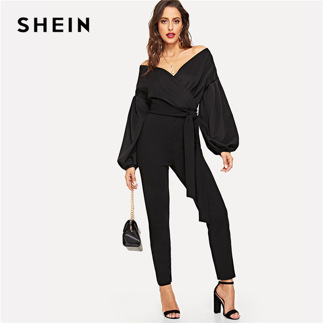 26732d1e89f2 SHEIN Black Office Lady Solid Bishop Sleeve Belted Wrap V neck Long Sleeve  Jumpsuit Autumn Casual